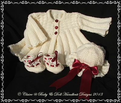 Herringbone Coat Set for 16-22 inch doll/newborn/0-3m baby