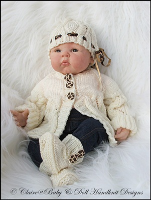 Jacket, Beanie & Boots Pattern 16-22 inch doll/0-3m baby