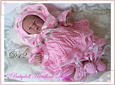 Lacy Cabled Angel Top Set 10-16 inch dolls/prem baby