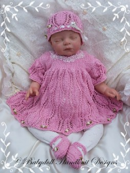 Lacy Dress Set for 16-22 inch dolls/0-3m baby