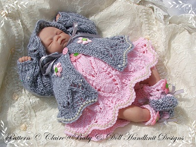 Lacy Dress & Coat Set 7-12 inch doll
