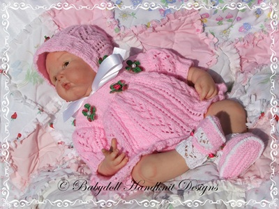 Lacy Panelled Angel Top Set 16-22 inch doll/0-3m baby