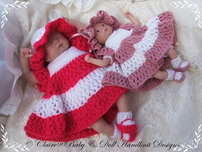 Layered Dress and Sunhat Set 6-11 inch doll