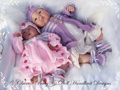 Leaf Pannelled Lacy Matinee Set 16-22 inch doll/0-3m baby