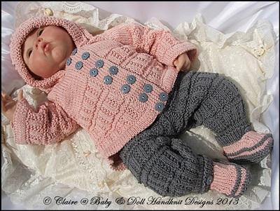 Hooded Pram Suit 16-22 inch doll/newborn/0-3m baby
