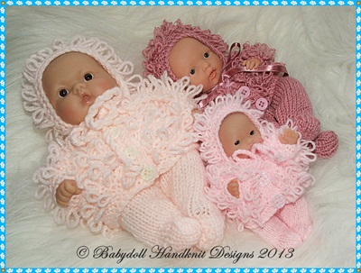 Loopy Coat Oufits for 5-8 inch Berenguers-knitting pattern, doll, berenguer, babydoll handknit designs