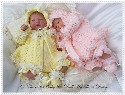 'Luscious Lace' Matinee Set 15-16 inch doll/preemie baby
