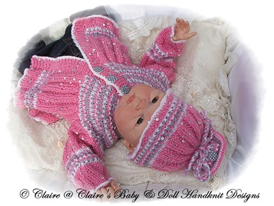 Patterned Suit 16-22� dolls/newborn/0-3m baby-knitting pattern, reborn doll, reborn, baby, babydoll handknit designs