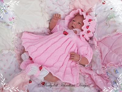 Mock Pleats Dress Set 10-16 inch doll/preemie baby