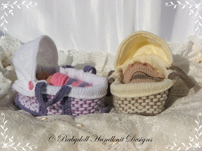 Moses Basket 4-5 inch doll-knitting pattern, crib, moses basket