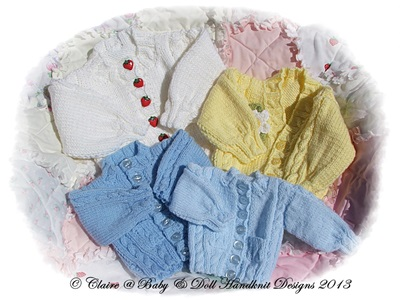 Roundneck & V-neck Cardigans 12 - 18 inch chest 15-26 inch doll/preemie-6 months baby