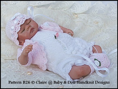 Romper & Bolero Set 8-13 inch dolls-knitting pattern, doll, reborn, babydoll handknit designs
