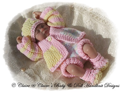 Patchwork Mix �n� Match Set 6-11� doll-babydoll handknit designs, reborn knitting pattern, doll knitting pattern