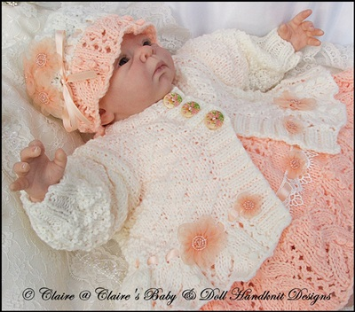 Dress & Jacket Set for 16-20� doll/preemie/newborn baby-knitting pattern, reborn, baby doll, reborn doll knitting pattern, babydoll handknit designs