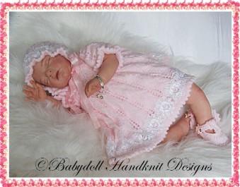 Picot Edged Dress set 16-22 inch dolls/newborn/0-3m baby