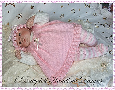Pinafore & stripy tights set 16-22 inch doll/0-3m baby