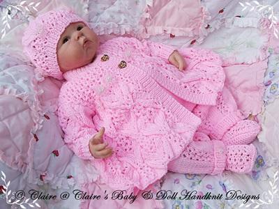 Lacy Winter Pram Set 16-22 inch doll (preemie-3m+ baby)