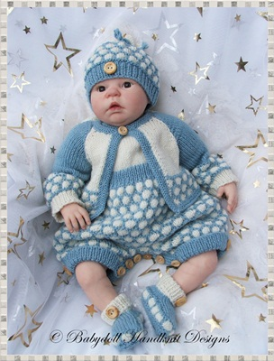 Quilted style romper 16-22 inch doll/0-3m baby