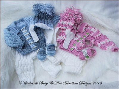 Cosy ribbed Jacket Set 16-22 inch doll/0-3m baby
