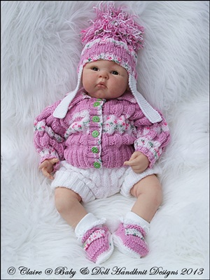 Cosy ribbed Jacket Set 16-22 inch doll/0-3m baby