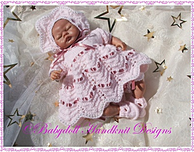 'Ribbons & Lace' Knitting Pattern 8-13 inch doll