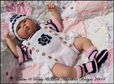 Frilled Rose Motif Romper Set 16-22 inch doll (preemie-3m+ baby)