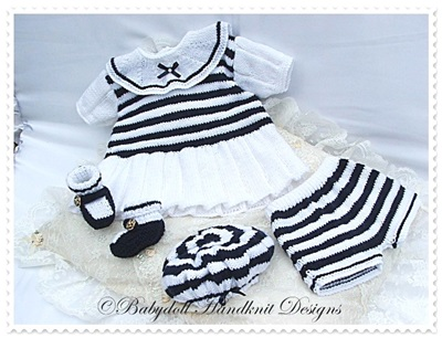 Sailor Dress Set 16-22 inch doll/0-3m baby