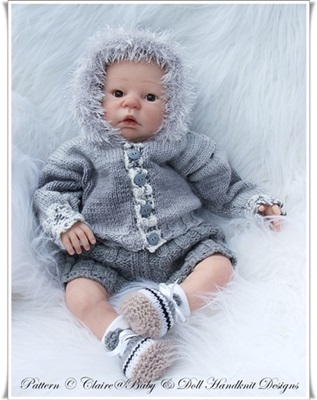 'Shades of Grey' 19-22 inch doll/0-3m baby