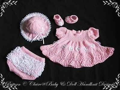 Lacy Edged Summer Dress Set 16-22 inch doll/0-3m baby