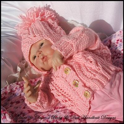 Triangular Shawlette, Cardigan, Hat & Bootees for Early/Newborn-3m Baby/16-22 inch Doll