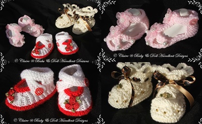 Shoes, sandals and bootees for 16-22 inch doll (preemie-3m baby)