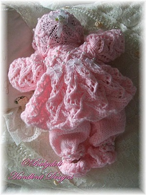 Smocked Lacy Pram Set 8-13 inch dolls