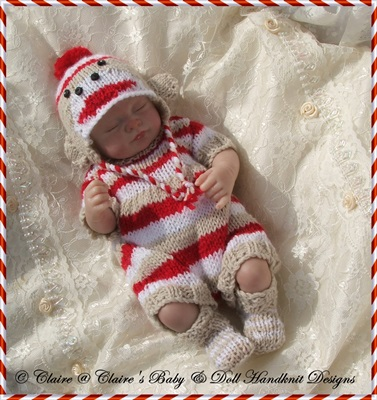 Sock Monkey Outfit 10-13� doll-sock monkey, knitting pattern, hat, doll,  babydoll handknit designs