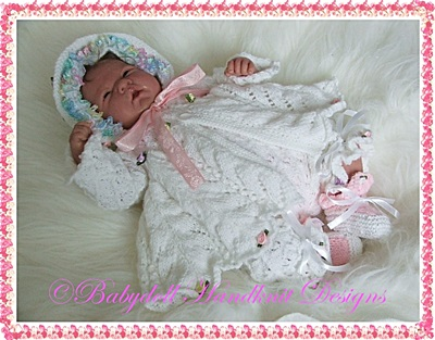 Spiral & Eyelet Patterned Matinee Set 15-21 inch doll/newborn/0-3m baby