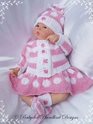 'Spots & Stripes' Outfit 16-22 inch doll/0-3m baby