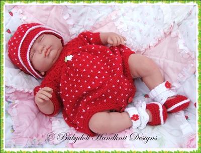 Strawberry Romper Set 17-22 inch doll/0-3m baby-