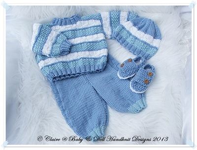 Striped Textured Sweater Set 16-22 inch doll/newborn/0-3m baby