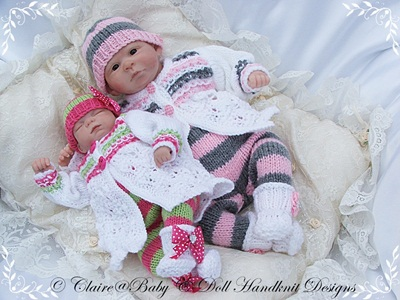 Lacy Coat & Stripey Leggings 9-14 inch doll