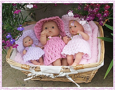 Sundress Set for 5-8 inch Berenguers-knitting pattern, berenguer, sundress, sunhat, doll