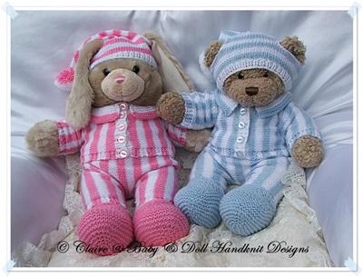 Bedtime Set 16-17� Build A Bear Teddy Bear/Bunny-teddy bear, build a bear, knitting pattern, babydoll handknit designs, pyjamas