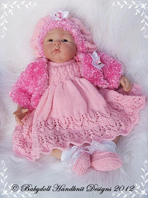 Winter Dress and Bolero set 19-22 inch doll/0-3m baby-knitting pattern, reborn, beanie, cloero, slouchy hat, babydoll handknit designs