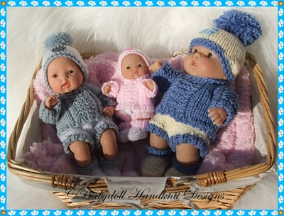 Winter Sweater Set 5-8 inch Berenguers-berenguer, knitting pattern, doll, reborn